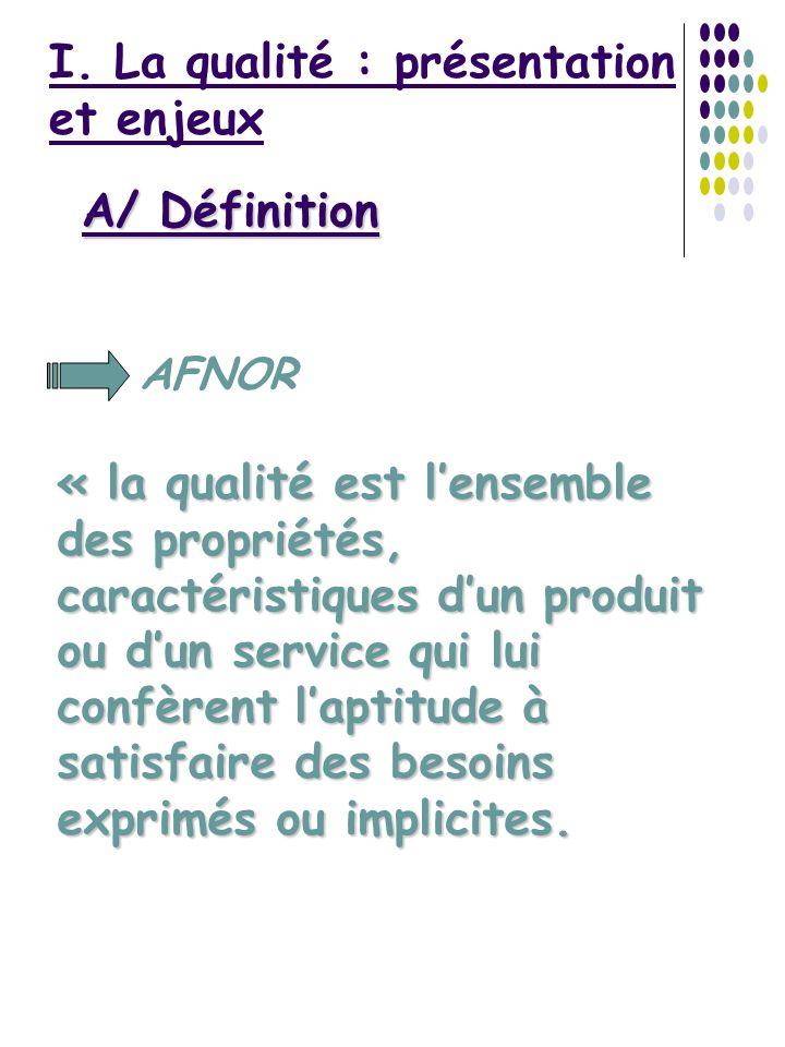 I. La qualité : présentation et enjeux AFNOR A/ Définition « la qualité est lensemble des propriétés, caractéristiques dun produit ou dun service qui