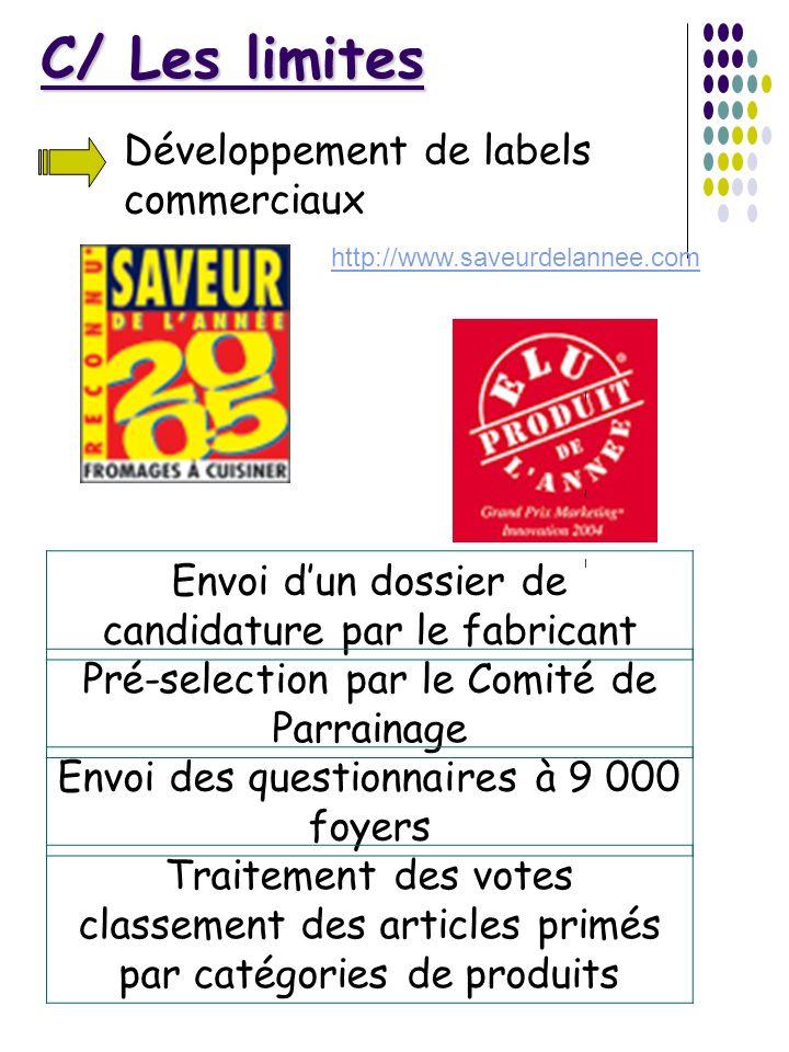 C/ Les limites Développement de labels commerciaux Envoi dun dossier de candidature par le fabricant I Pré-selection par le Comité de Parrainage I Env