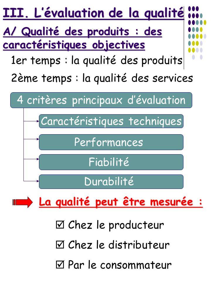 III. Lévaluation de la qualité 1er temps : la qualité des produits 2ème temps : la qualité des services A/ Qualité des produits : des caractéristiques