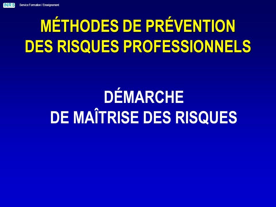 INRS Service Formation / Enseignement MÉTHODES DE PRÉVENTION DES RISQUES PROFESSIONNELS DÉMARCHE DE MAÎTRISE DES RISQUES