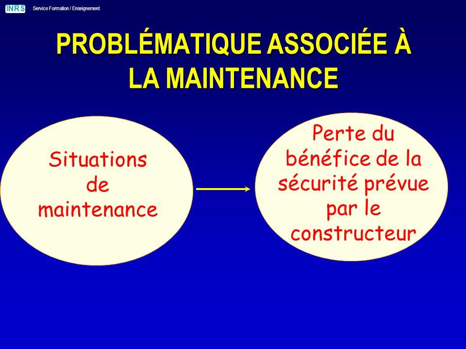 INRS Service Formation / Enseignement Situations de maintenance PROBLÉMATIQUE ASSOCIÉE À LA MAINTENANCE Perte du bénéfice de la sécurité prévue par le constructeur