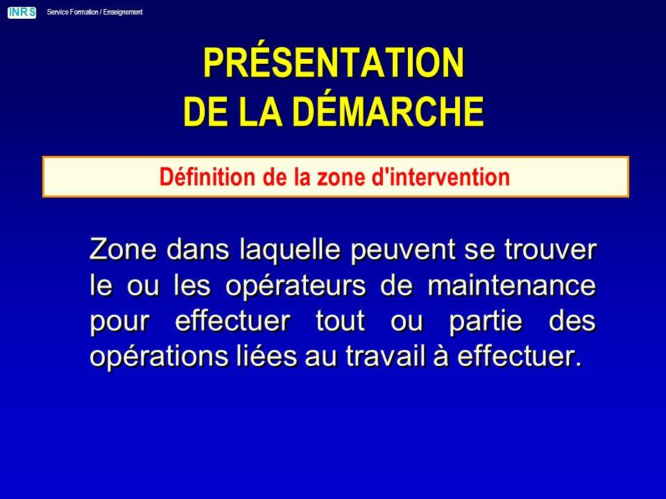 INRS Service Formation / Enseignement PRÉSENTATION DE LA DÉMARCHE Définition de la zone d intervention Zone dans laquelle peuvent se trouver le ou les opérateurs de maintenance pour effectuer tout ou partie des opérations liées au travail à effectuer.