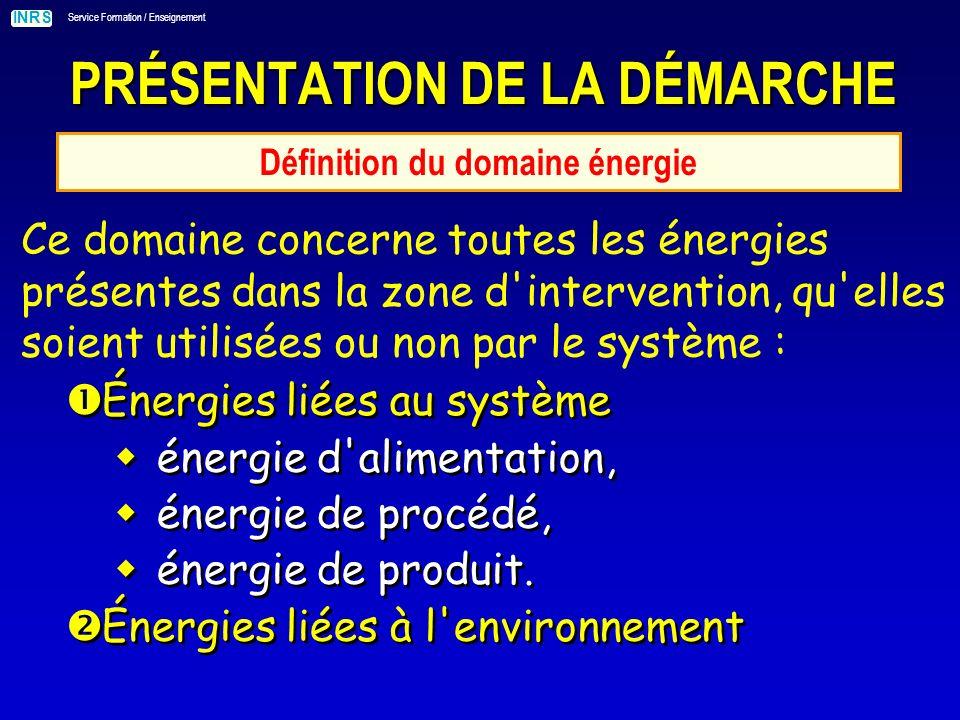 INRS Service Formation / Enseignement PRÉSENTATION DE LA DÉMARCHE Définition du domaine énergie Ce domaine concerne toutes les énergies présentes dans la zone d intervention, qu elles soient utilisées ou non par le système : Énergies liées au système énergie d alimentation, énergie de procédé, énergie de produit.