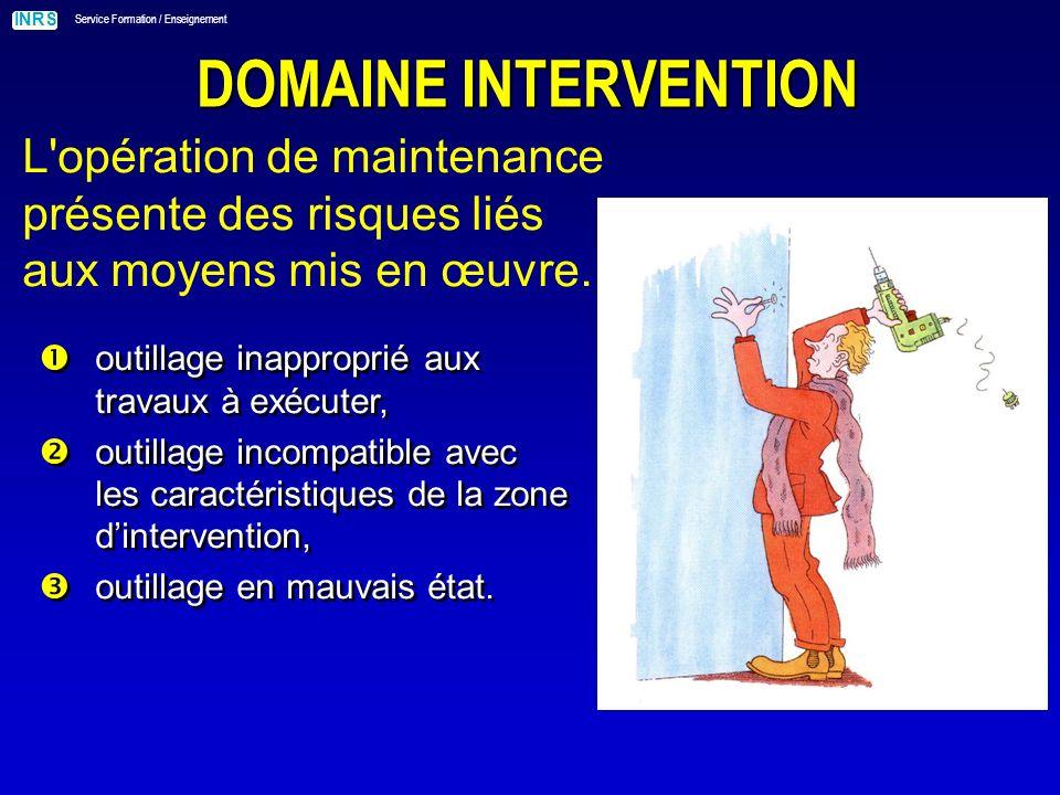 INRS Service Formation / Enseignement DOMAINE INTERVENTION L opération de maintenance présente des risques liés aux intervenants.