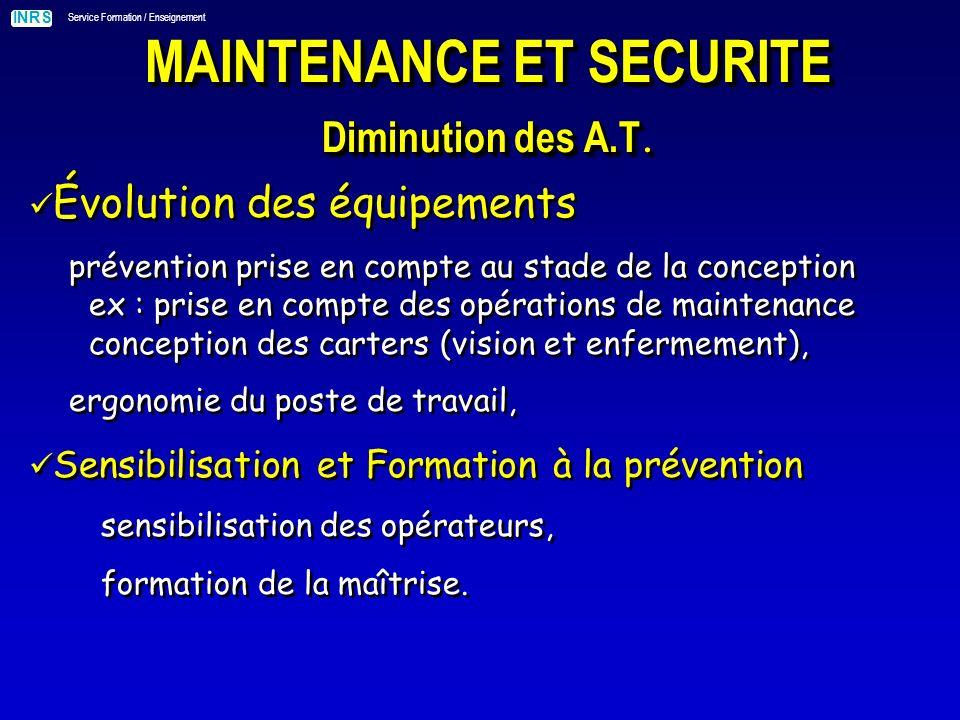 INRS Service Formation / Enseignement MAINTENANCE ET SÉCURITÉ exemple daccident La victime électro-mécanicien, effectuait une opération d entretien.