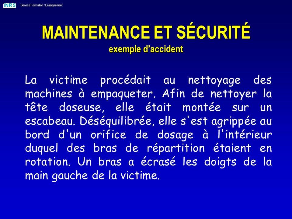 INRS Service Formation / Enseignement MAINTENANCE ET SÉCURITÉ exemple daccident La victime procédait au nettoyage des machines à empaqueter.