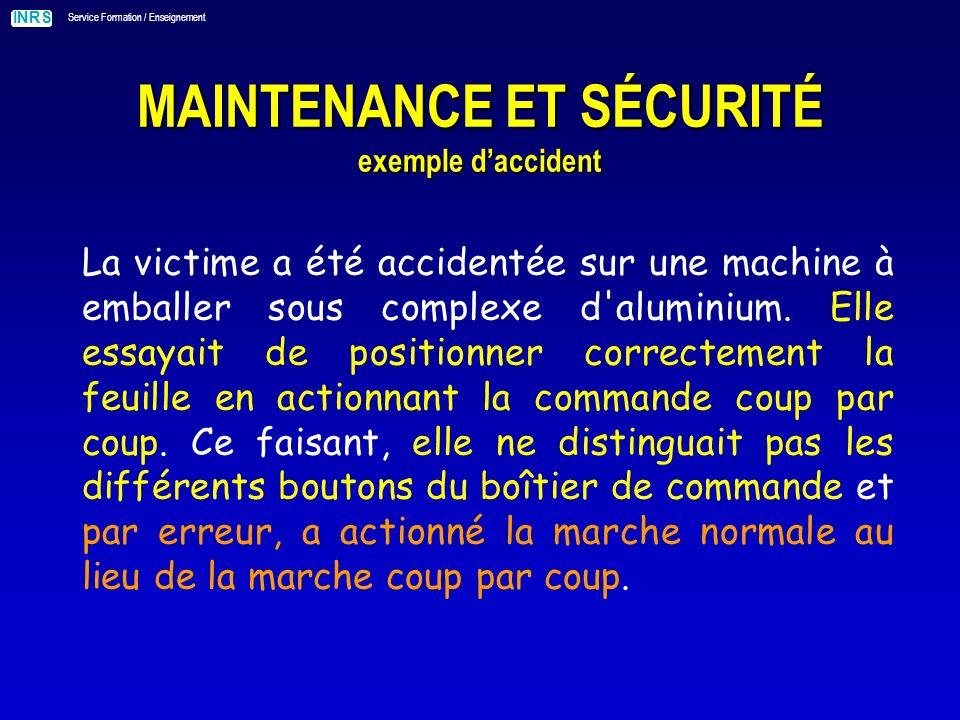 INRS Service Formation / Enseignement MAINTENANCE ET SÉCURITÉ exemple daccident La victime a été accidentée sur une machine à emballer sous complexe d aluminium.