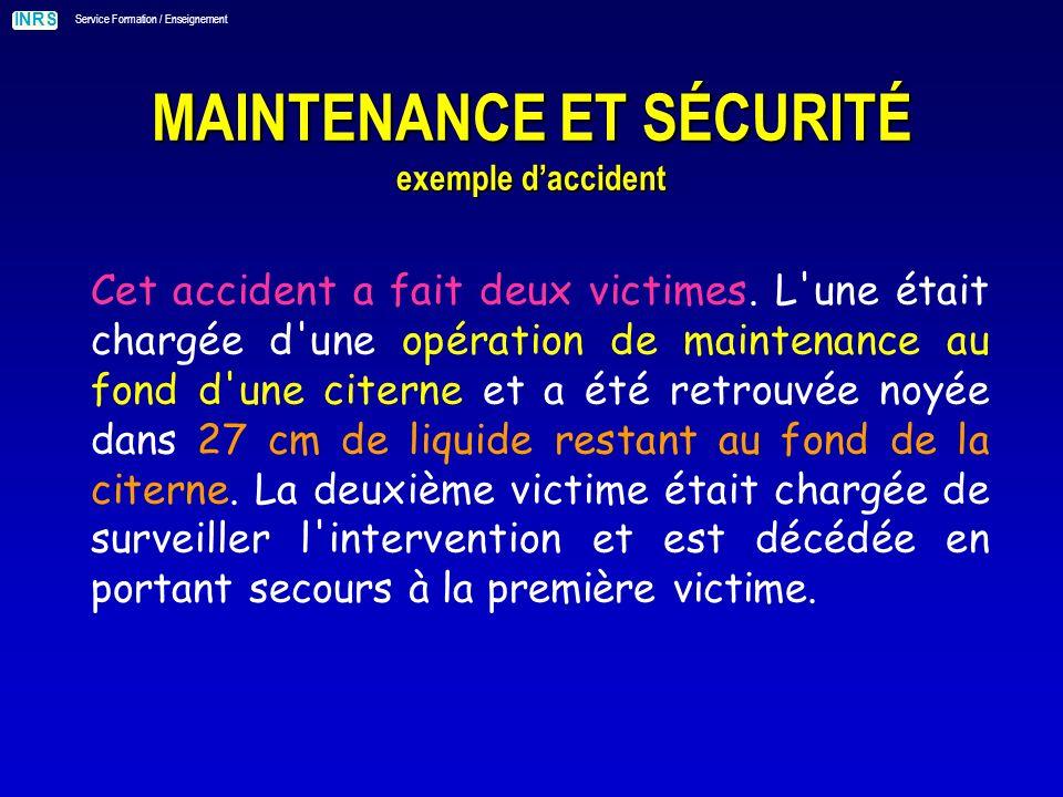 INRS Service Formation / Enseignement MAINTENANCE ET SÉCURITÉ exemple daccident La victime procédait au nettoyage d une cuve.