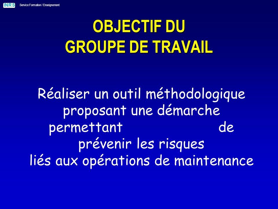 INRS Service Formation / Enseignement POURQUOI UNE DÉMARCHE DE MAÎTRISE DU RISQUE .