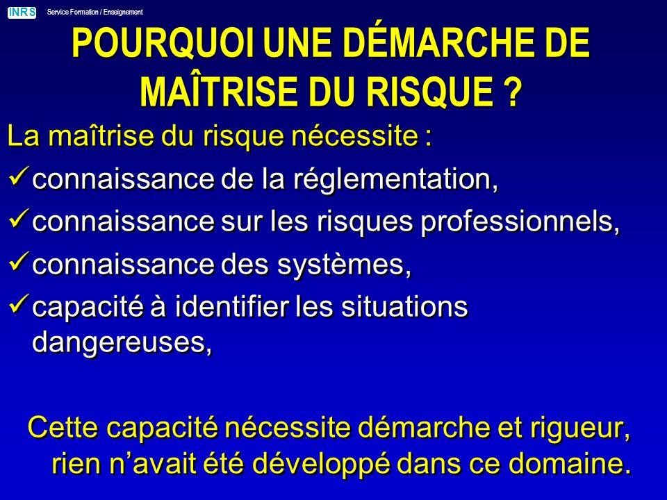 INRS Service Formation / Enseignement Î BROCHURE MAINTENANCE ET MAÎTRISE DU RISQUE