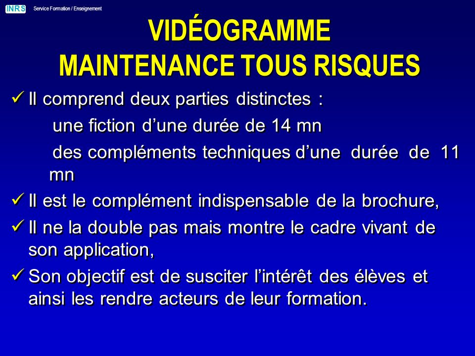 INRS Service Formation / Enseignement