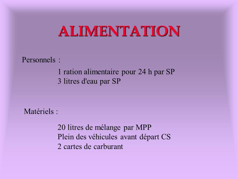 ALIMENTATION Personnels : 1 ration alimentaire pour 24 h par SP 3 litres d'eau par SP Matériels : 20 litres de mélange par MPP Plein des véhicules ava