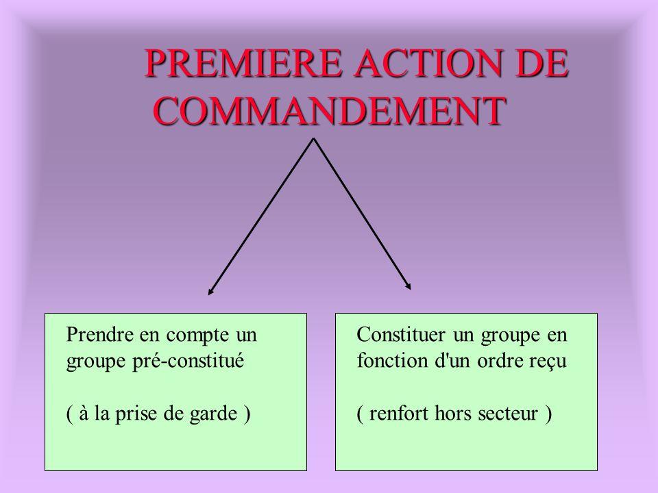 PREMIERE ACTION DE COMMANDEMENT Prendre en compte un groupe pré-constitué ( à la prise de garde ) Constituer un groupe en fonction d'un ordre reçu ( r