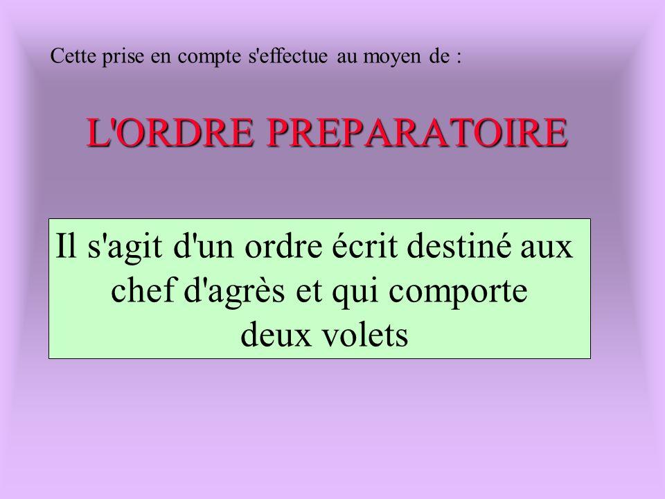 Cette prise en compte s'effectue au moyen de : L'ORDRE PREPARATOIRE Il s'agit d'un ordre écrit destiné aux chef d'agrès et qui comporte deux volets