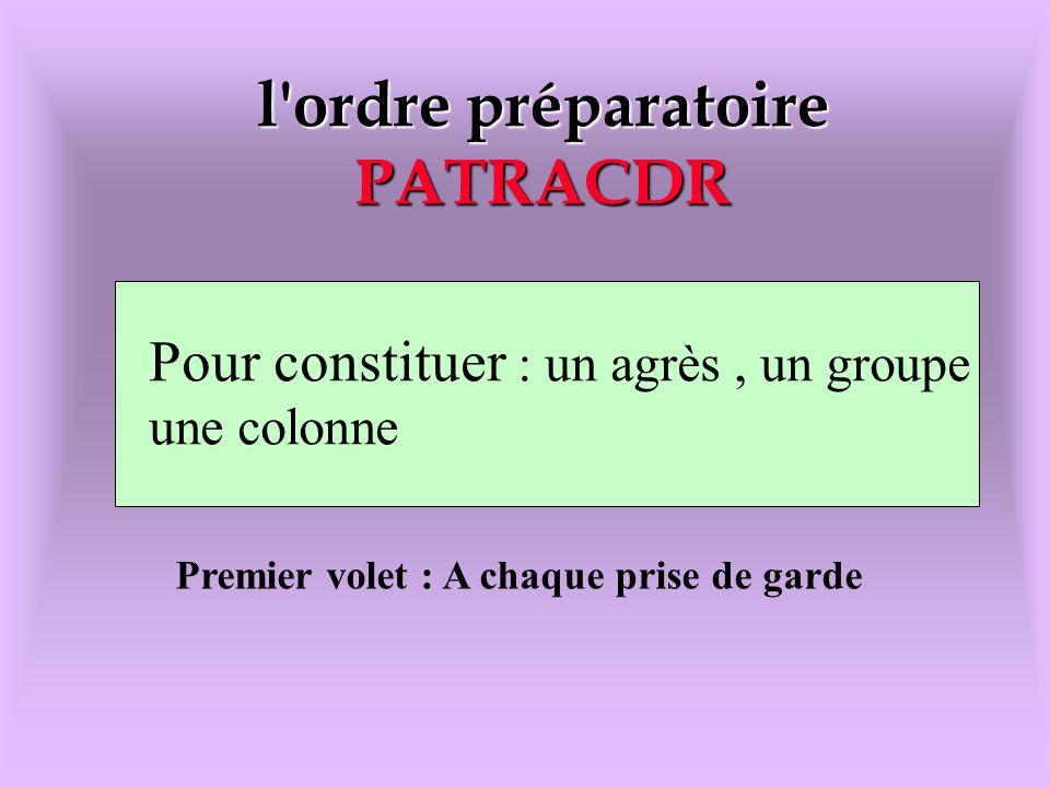 l'ordre préparatoire PATRACDR l'ordre préparatoire PATRACDR Pour constituer : un agrés,un groupe,une colonne Pour constituer : un agrès, un groupe une