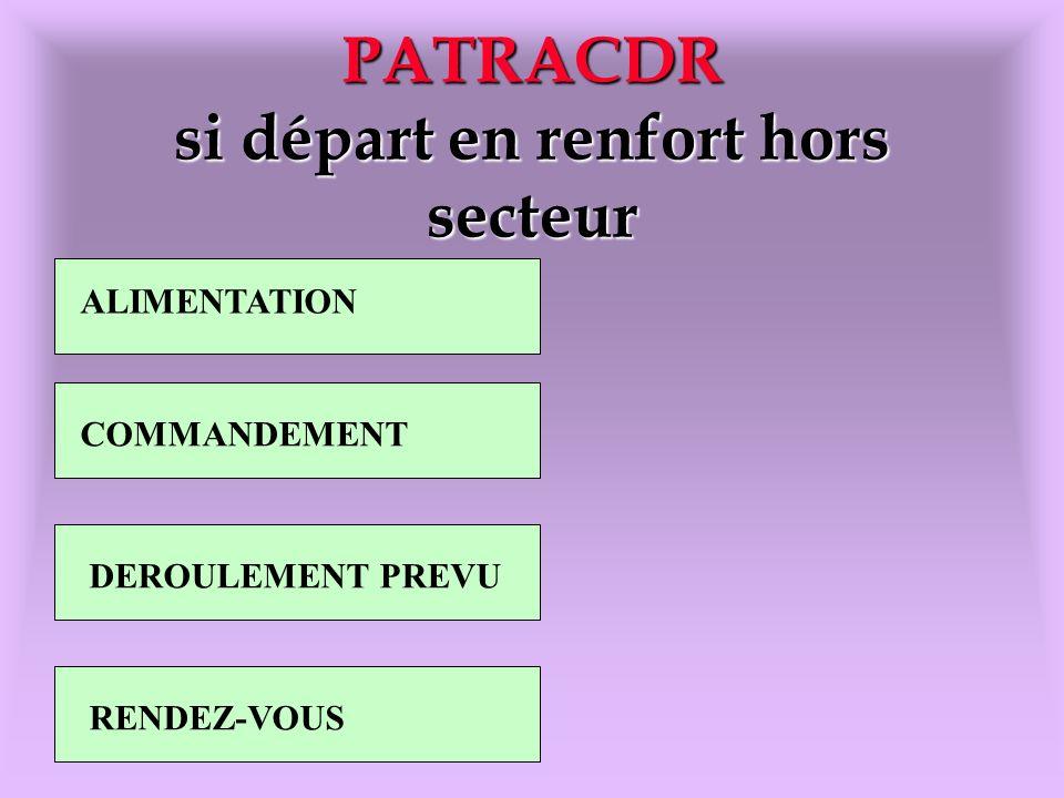 PATRACDR si départ en renfort hors secteur ALIMENTATION COMMANDEMENT DEROULEMENT PREVU RENDEZ-VOUS