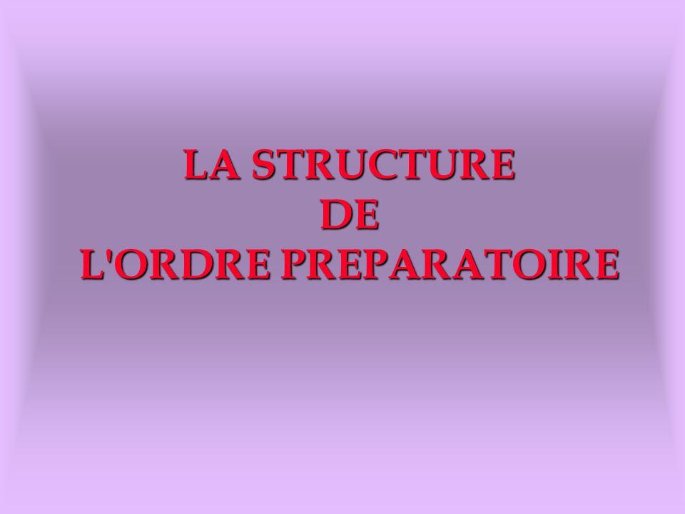 LA STRUCTURE DE L'ORDRE PREPARATOIRE