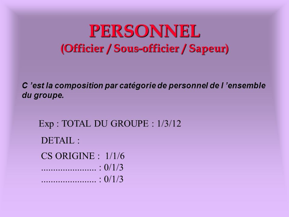PERSONNEL (Officier / Sous-officier / Sapeur) Exp : TOTAL DU GROUPE : 1/3/12 DETAIL : CS ORIGINE : 1/1/6....................... : 0/1/3 C est la compo