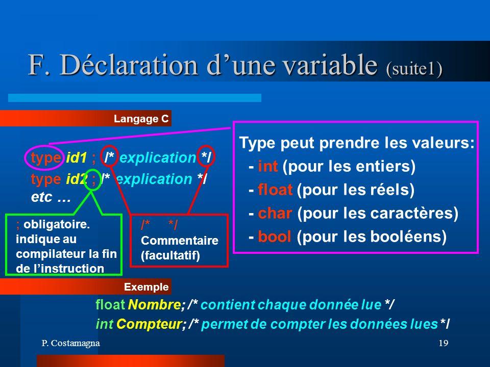 P. Costamagna19 F. Déclaration dune variable (suite1) Type peut prendre les valeurs: - int (pour les entiers) - float (pour les réels) - char (pour le