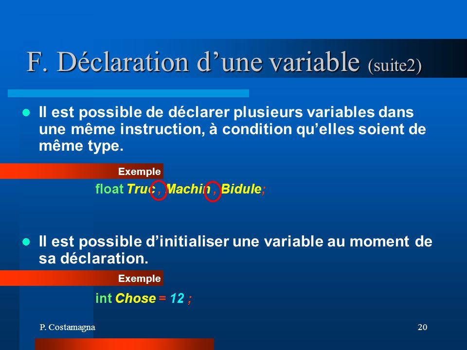 P. Costamagna20 F. Déclaration dune variable (suite2) Exemple float Truc, Machin, Bidule; Il est possible de déclarer plusieurs variables dans une mêm