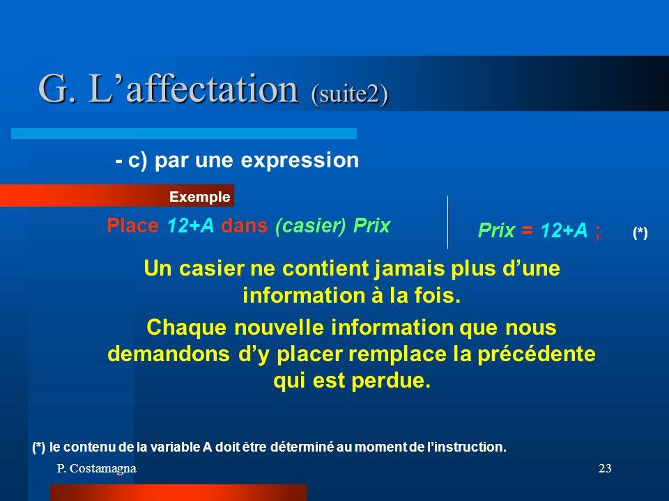 P. Costamagna23 G. Laffectation (suite2) Un casier ne contient jamais plus dune information à la fois. Chaque nouvelle information que nous demandons