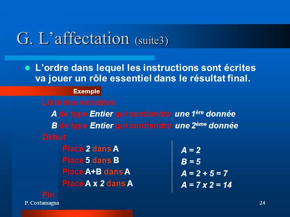 P. Costamagna24 G. Laffectation (suite3) Exemple Lordre dans lequel les instructions sont écrites va jouer un rôle essentiel dans le résultat final. L