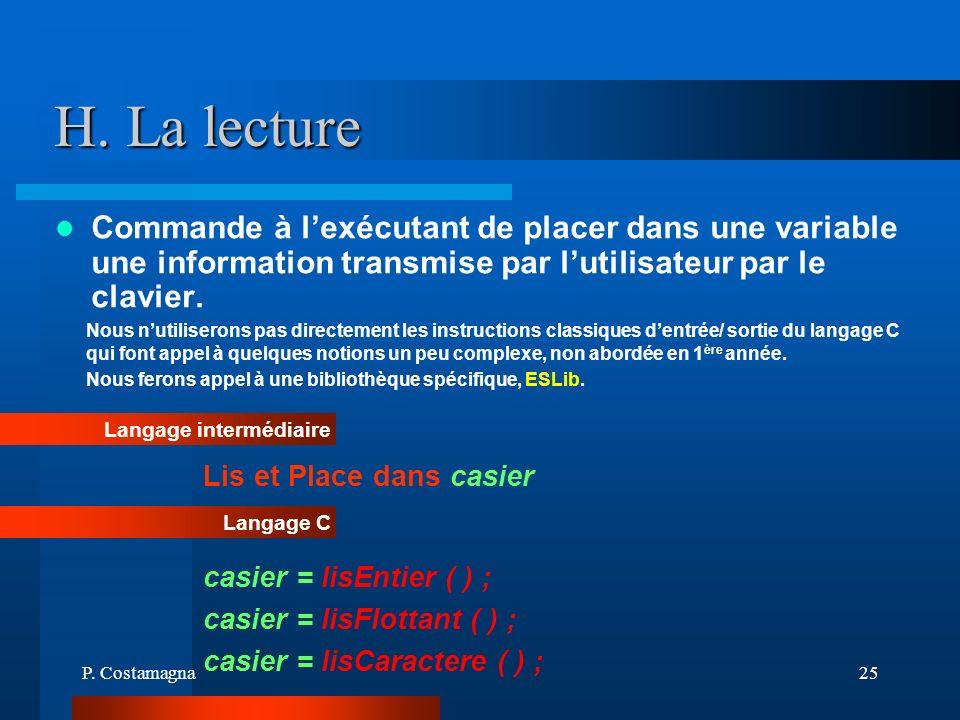 P. Costamagna25 H. La lecture Commande à lexécutant de placer dans une variable une information transmise par lutilisateur par le clavier. Langage int
