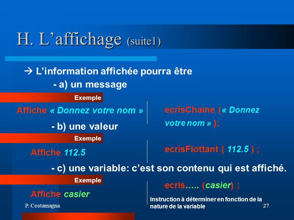 P. Costamagna27 H. Laffichage (suite1) Exemple - b) une valeur Affiche « Donnez votre nom » ecrisChaine (« Donnez votre nom » ); Linformation affichée