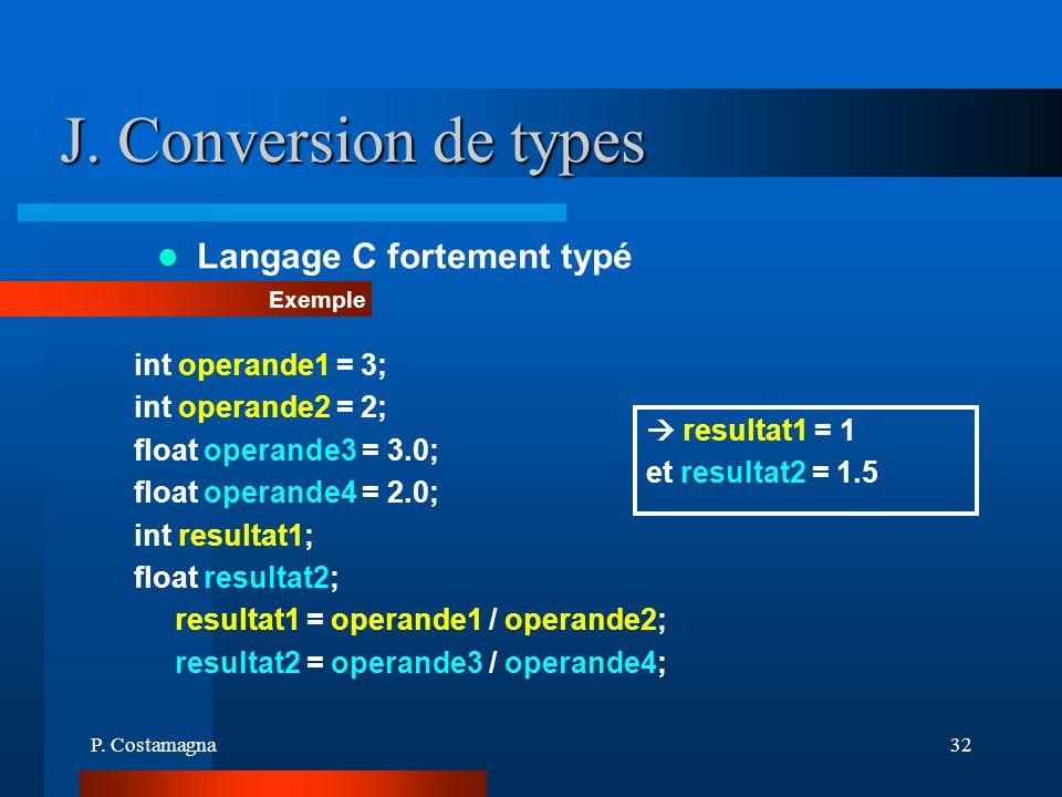 P. Costamagna32 J. Conversion de types Langage C fortement typé Exemple int operande1 = 3; int operande2 = 2; float operande3 = 3.0; float operande4 =