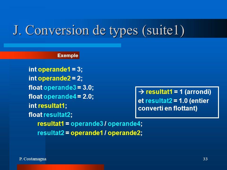 P. Costamagna33 J. Conversion de types (suite1) Exemple int operande1 = 3; int operande2 = 2; float operande3 = 3.0; float operande4 = 2.0; int result