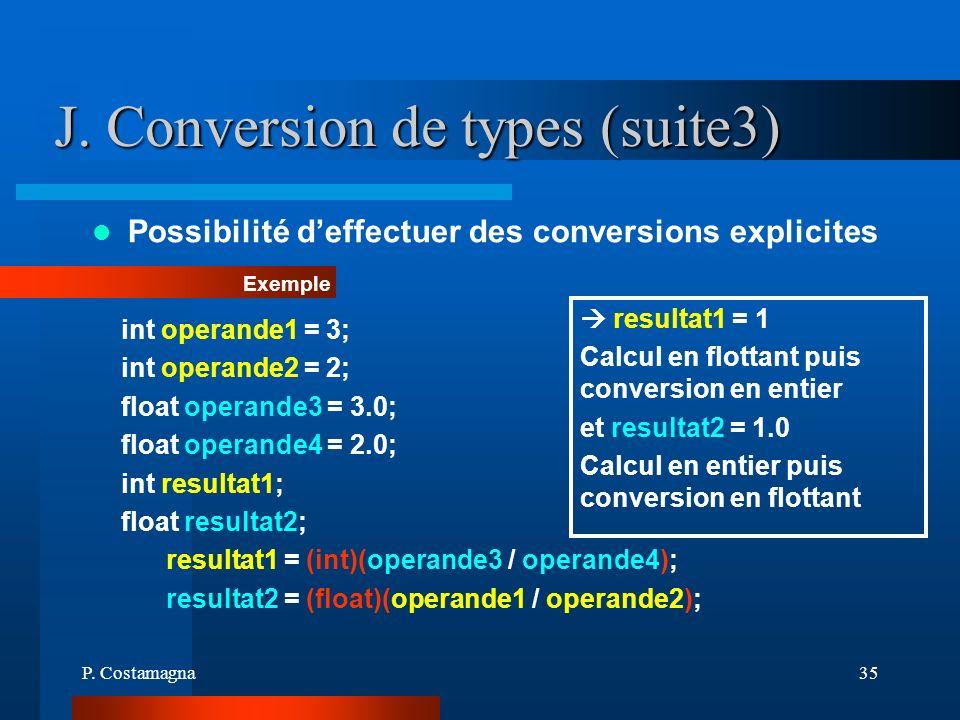 P. Costamagna35 J. Conversion de types (suite3) Possibilité deffectuer des conversions explicites Exemple int operande1 = 3; int operande2 = 2; float