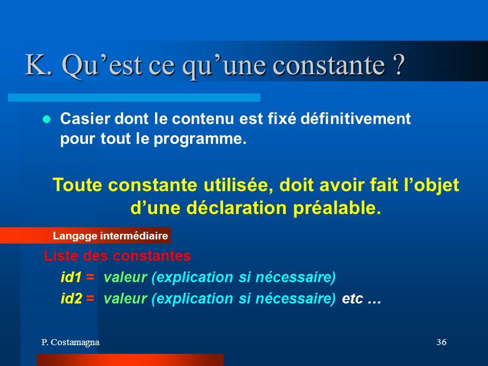 P. Costamagna36 K. Quest ce quune constante ? Casier dont le contenu est fixé définitivement pour tout le programme. Toute constante utilisée, doit av