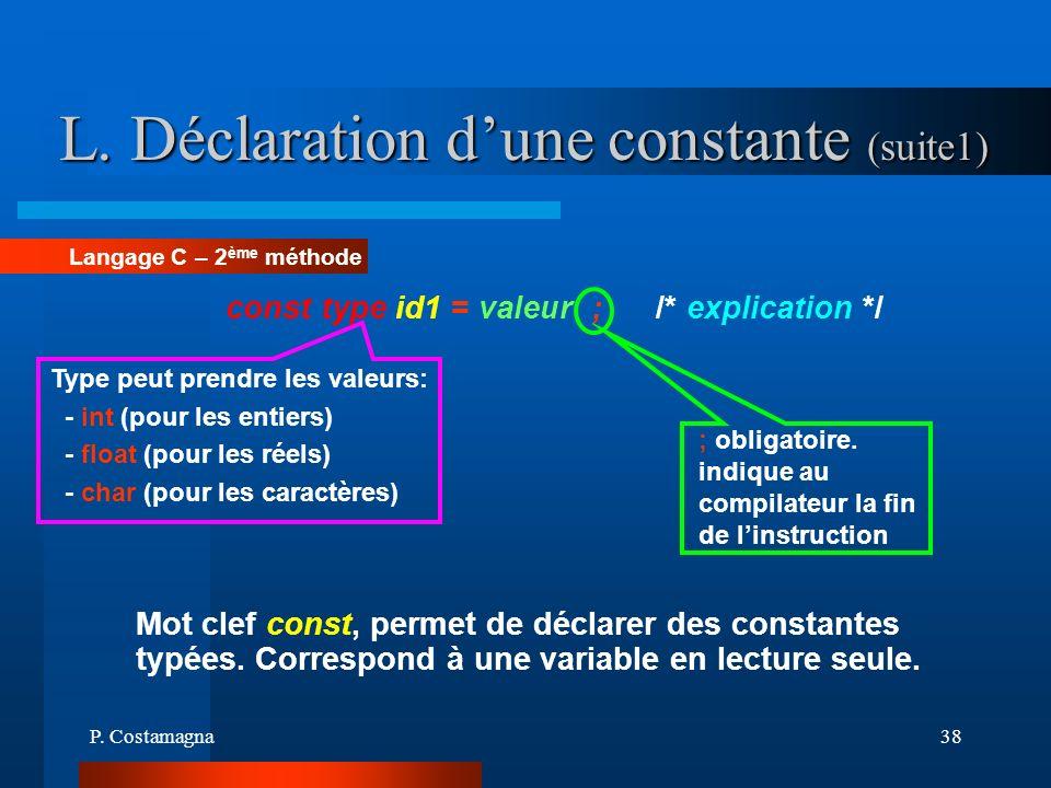 P. Costamagna38 L. Déclaration dune constante (suite1) Langage C – 2 ème méthode const type id1 = valeur ; /* explication */ ; obligatoire. indique au