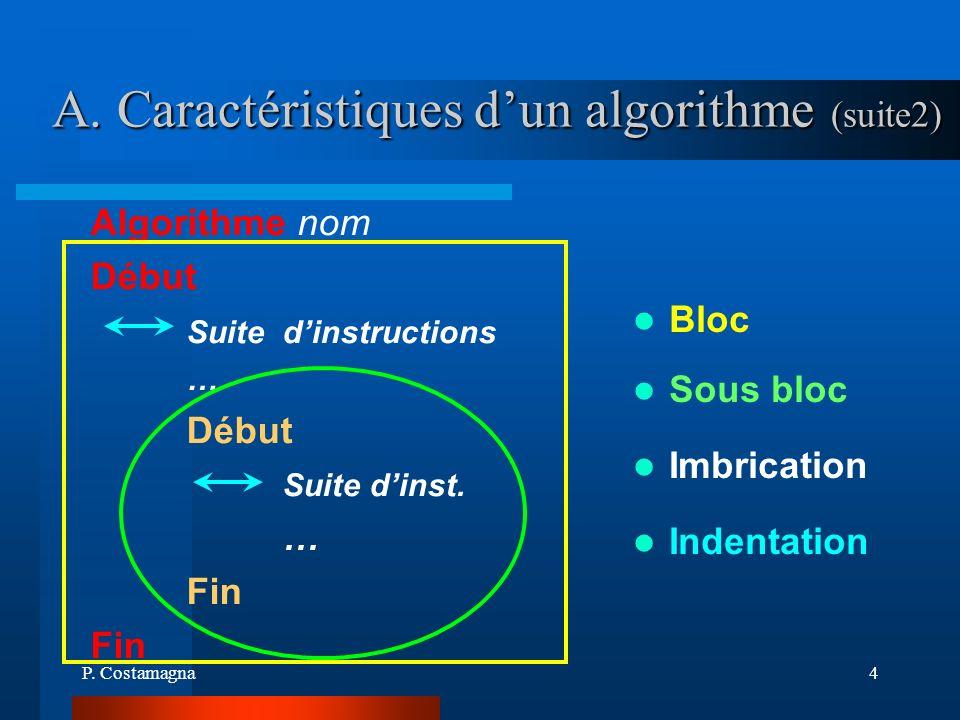 P. Costamagna4 A. Caractéristiques dun algorithme (suite2) Bloc Algorithme nom Début Suite dinstructions … Début Suite dinst. … Fin Sous bloc Indentat