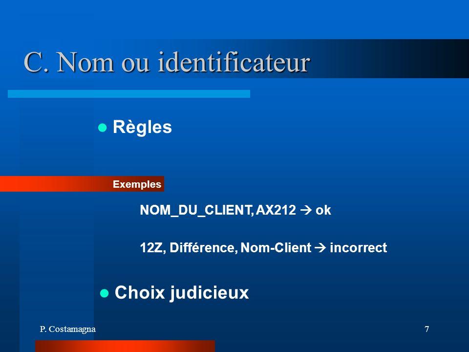 P. Costamagna7 C. Nom ou identificateur Règles Exemples NOM_DU_CLIENT, AX212 ok 12Z, Différence, Nom-Client incorrect Choix judicieux