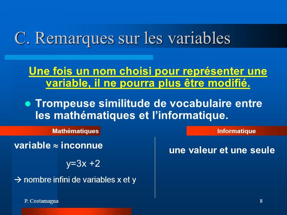 P. Costamagna8 C. Remarques sur les variables Trompeuse similitude de vocabulaire entre les mathématiques et linformatique. variable inconnue y=3x +2