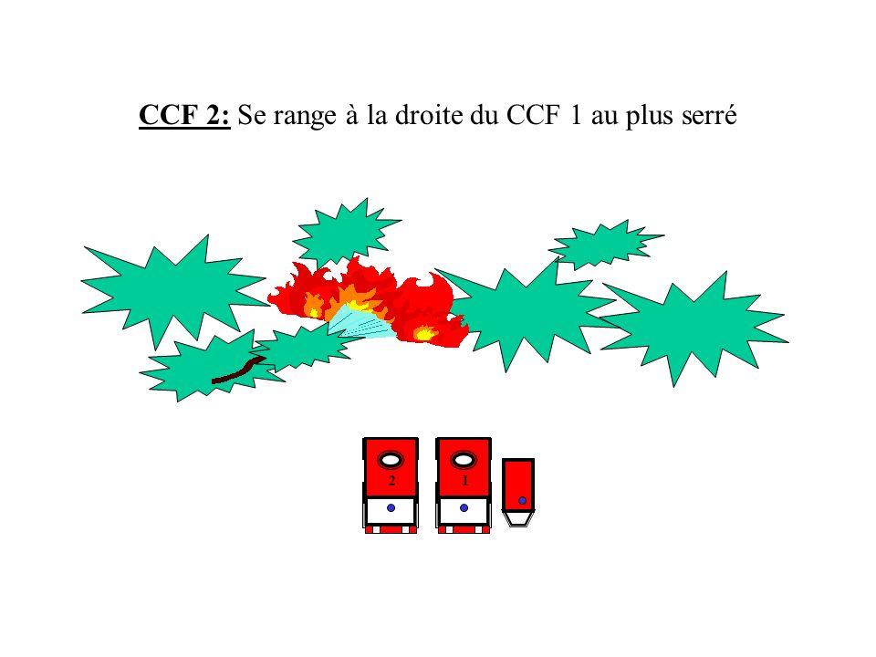 CCF 3 : Se range à la droite du CCF 2 au plus serré Etablit une lance LDV sur le tuyau de 20m à l arrière du gros porteur 123