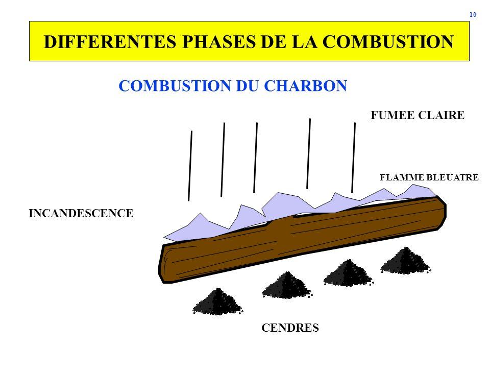 10 DIFFERENTES PHASES DE LA COMBUSTION CENDRES INCANDESCENCE FLAMME BLEUATRE FUMEE CLAIRE COMBUSTION DU CHARBON