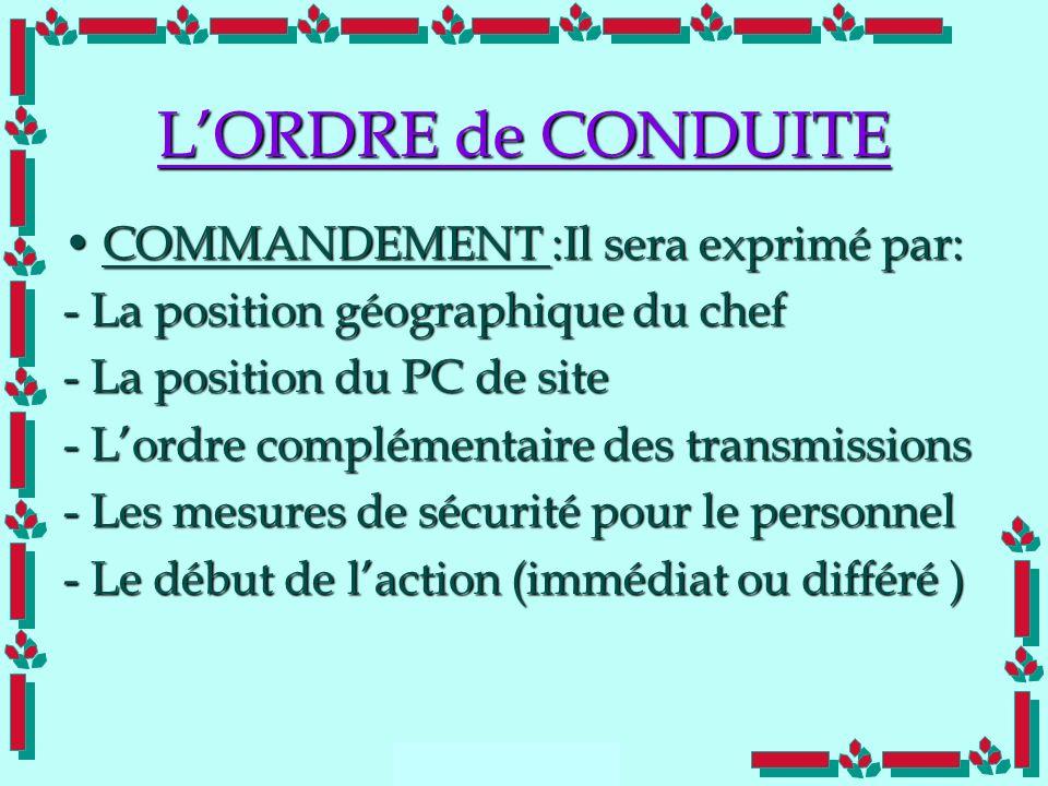 Doc Cdt E. SORRIBAS CDIS 41 LORDRE de CONDUITE COMMANDEMENT :Il sera exprimé par:COMMANDEMENT :Il sera exprimé par: - La position géographique du chef