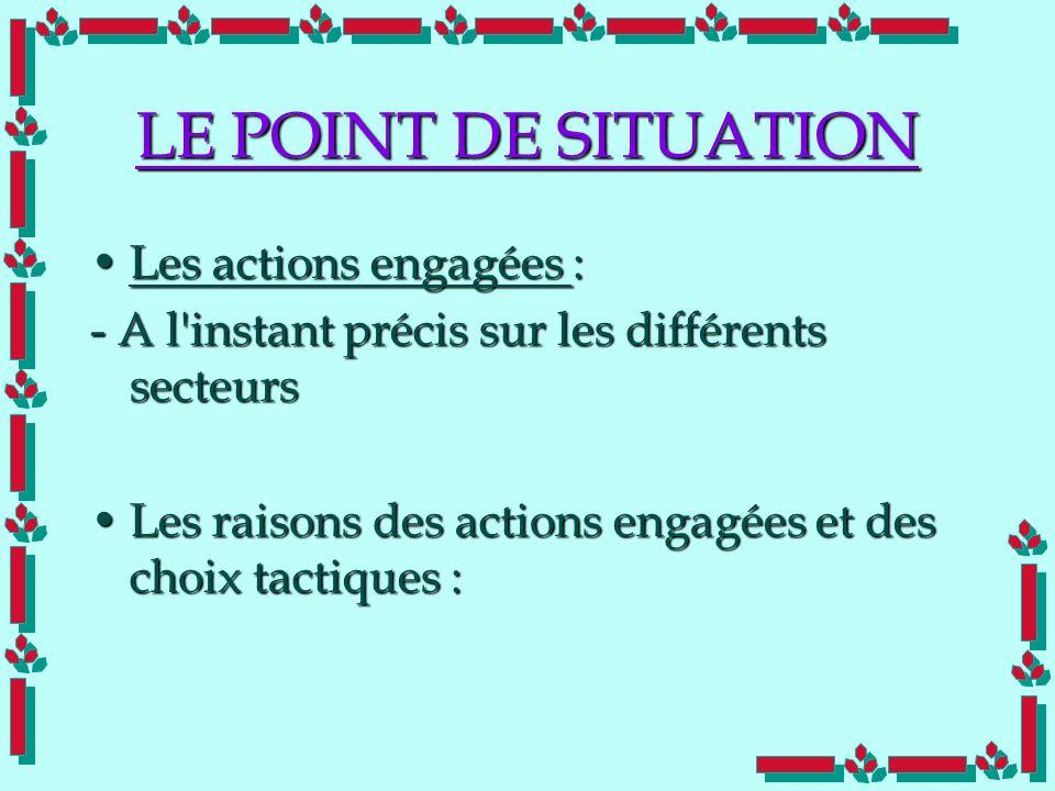 Doc Cdt E. SORRIBAS CDIS 41 LE POINT DE SITUATION Les actions engagées :Les actions engagées : - A l'instant précis sur les différents secteurs Les ra