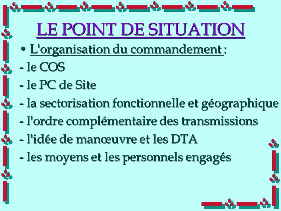 Doc Cdt E. SORRIBAS CDIS 41 LE POINT DE SITUATION L'organisation du commandement :L'organisation du commandement : - le COS - le PC de Site - la secto
