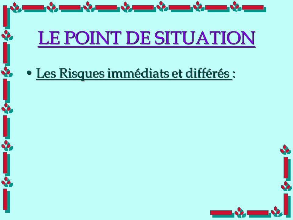 Doc Cdt E. SORRIBAS CDIS 41 LE POINT DE SITUATION Les Risques immédiats et différés :Les Risques immédiats et différés :