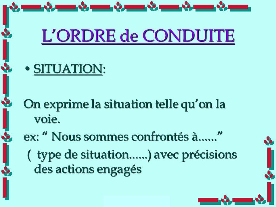 Doc Cdt E. SORRIBAS CDIS 41 LORDRE de CONDUITE SITUATION:SITUATION: On exprime la situation telle quon la voie. ex: Nous sommes confrontés à...... ( t