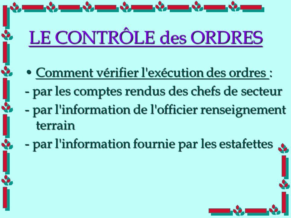 Doc Cdt E. SORRIBAS CDIS 41 LE CONTRÔLE des ORDRES Comment vérifier l'exécution des ordres :Comment vérifier l'exécution des ordres : - par les compte