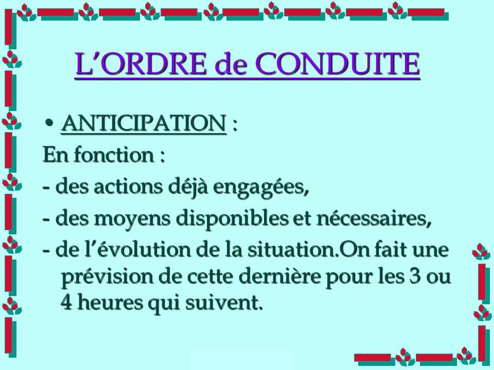 Doc Cdt E. SORRIBAS CDIS 41 LORDRE de CONDUITE ANTICIPATION :ANTICIPATION : En fonction : - des actions déjà engagées, - des moyens disponibles et néc