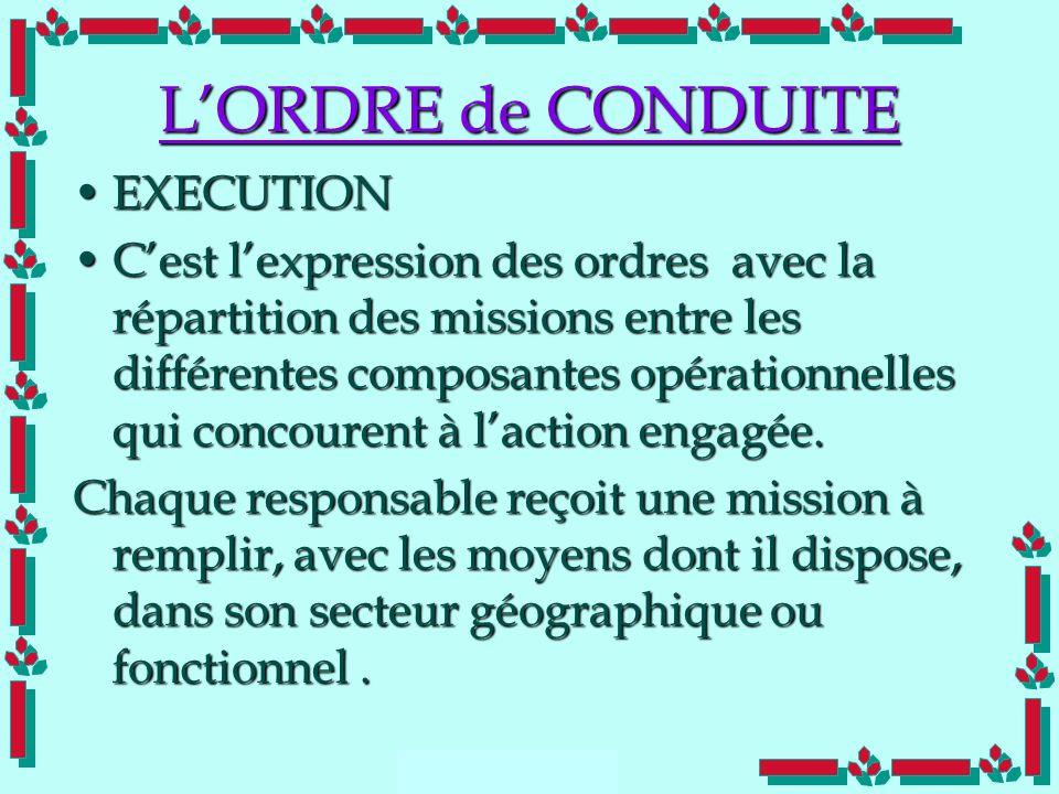 Doc Cdt E. SORRIBAS CDIS 41 LORDRE de CONDUITE EXECUTIONEXECUTION Cest lexpression des ordres avec la répartition des missions entre les différentes c