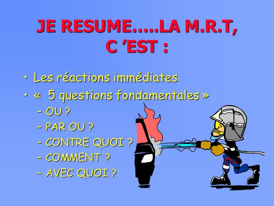 JE RESUME…..LA M.R.T, C EST : Les réactions immédiatesLes réactions immédiates « 5 questions fondamentales »« 5 questions fondamentales » –OU .