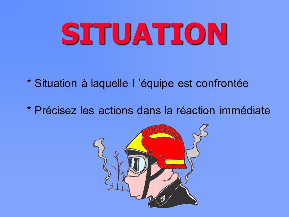 SITUATION * Situation à laquelle l équipe est confrontée * Précisez les actions dans la réaction immédiate