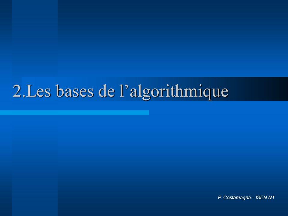 2.Les bases de lalgorithmique P. Costamagna – ISEN N1