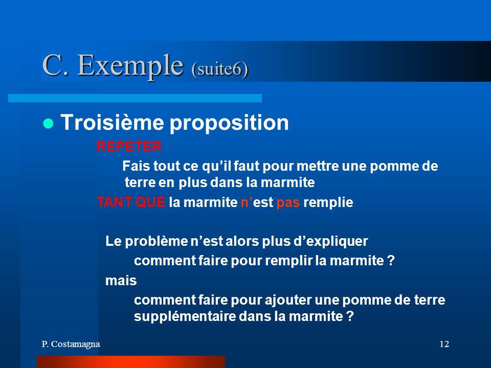 P. Costamagna12 C. Exemple (suite6) Troisième proposition REPETER Fais tout ce quil faut pour mettre une pomme de terre en plus dans la marmite TANT Q